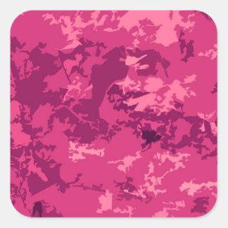 Hot Pink Camo Unique Camouflage Design Pattern Square Sticker