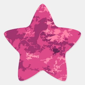 Hot Pink Camo Unique Camouflage Design Pattern Star Sticker