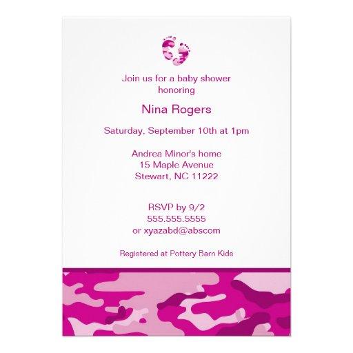 hot pink camouflage baby girl shower invitation 5 x 7 invitation