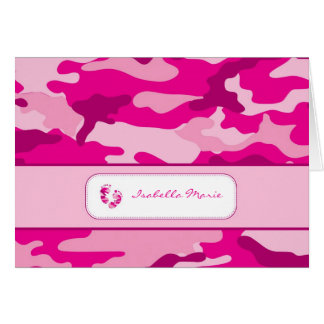 Hot Pink Camouflage Baby Shower Thank you Note Card