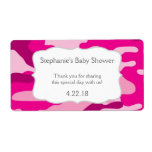 Hot Pink Camouflage Camo Water Bottle Favor Label
