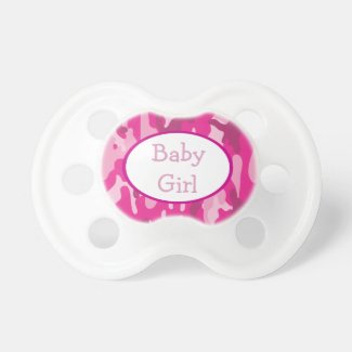 Hot Pink Camouflage Pacifier YOUR NAME