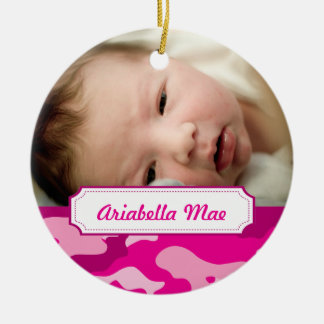 Hot Pink Camouflage Photo Christmas Tree Ornament