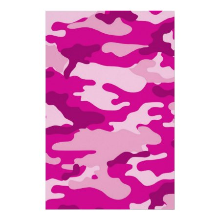 Hot Pink Camouflage Scrapbook Crafting Paper 001525