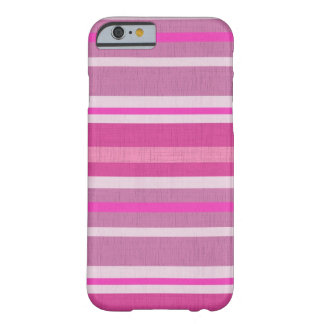 Hot Pink Candy White Linen Look Striped Design Barely There iPhone 6 Case