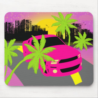 Hot Pink Car Mouse Pad