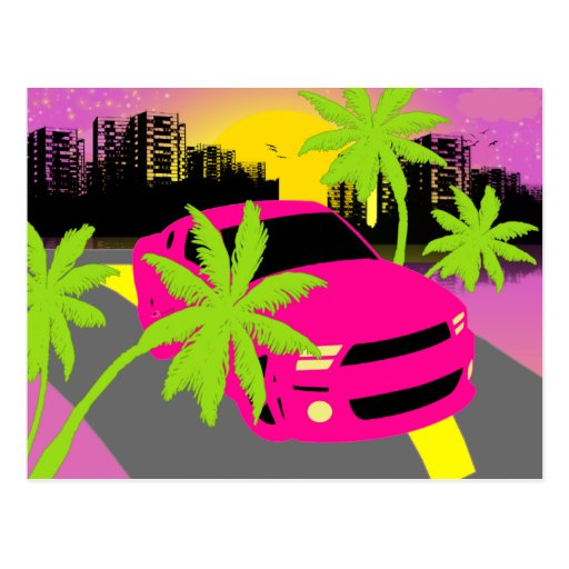 Hot pink Car Postcard