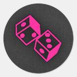 Hot Pink Casino Dice Classic Round Sticker