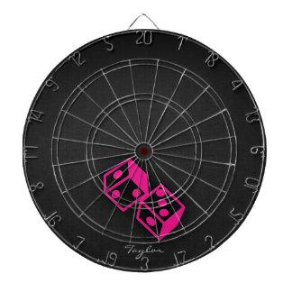 Hot Pink Casino Dice Dart Board