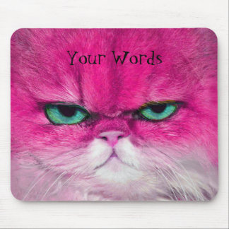 HOT PINK CAT, CUTE SERIOUS CAT GREEN EYES GIFT MOUSE PAD