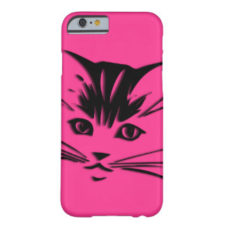 Hot Pink Cat Face Barely There iPhone 6 Case