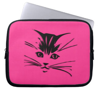 Hot Pink Cat Face Laptop Sleeve