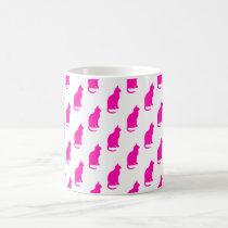 Hot Pink Cat Pattern Cats Texture White Coffee Mug