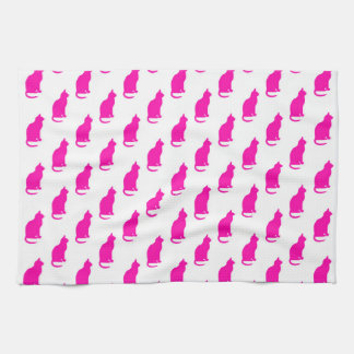 Hot Pink Cat Pattern Cats Texture White Towels