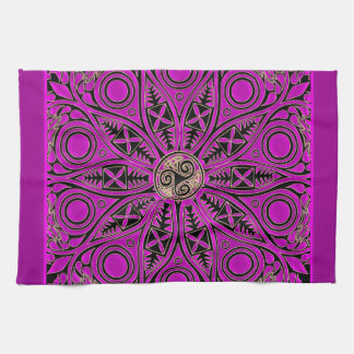 Hot Pink Celtic Triskele Mandala Kitchen Towel