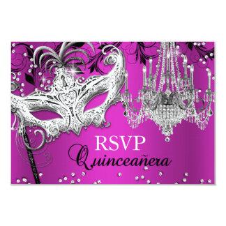 Hot Pink Chandelier Masquerade Quinceanera RSVP 3.5x5 Paper Invitation Card