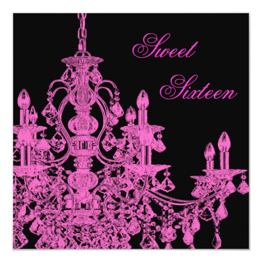 Hot Pink Chandelier Sweet Sixteen Party Invitation