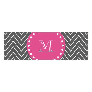 Hot Pink, Charcoal Gray Chevron | Your Monogram Double-Sided Mini Business Cards (Pack Of 20)