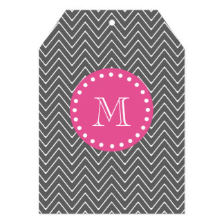 Hot Pink, Charcoal Gray Chevron | Your Monogram Card