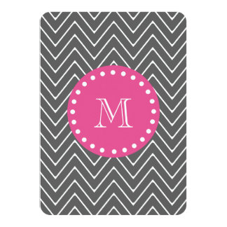 "Hot Pink, Charcoal Gray Chevron | Your Monogram 4.5"" X 6.25"" Invitation Card"