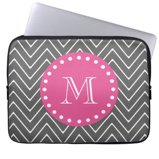 Hot Pink, Charcoal Gray Chevron | Your Monogram Laptop Sleeves