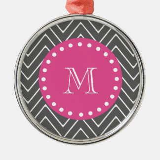 Hot Pink, Charcoal Gray Chevron | Your Monogram Ornament