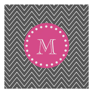 Hot Pink, Charcoal Gray Chevron | Your Monogram Perfect Poster
