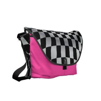 Hot Pink Checkered Flag Racing Courier Bag