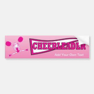 Hot Pink Cheerleader Girl Silhouette Bumper Sticker