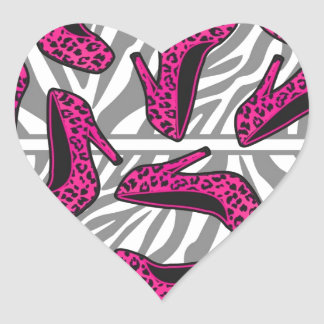 Hot Pink Cheetah High Heel Shoe Print on Zebra Heart Sticker