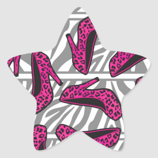 Hot Pink Cheetah High Heel Shoe Print on Zebra Star Sticker