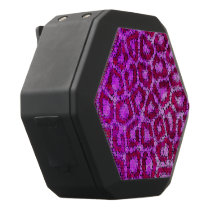 Hot Pink Cheetah Textured Black Bluetooth Speaker