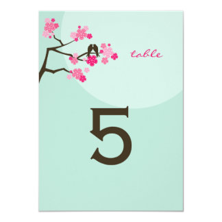 Hot Pink Cherry Blossoms Love Birds Table Number 4.5x6.25 Paper Invitation Card