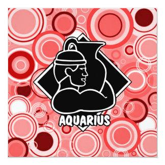 Hot Pink Cherry Red | Aquarius Zodiac Sign Circles Card