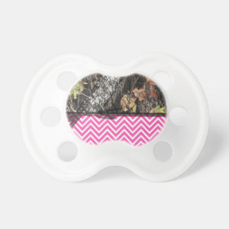 Hot Pink Chevron and Camo Pacifier W/ Black Ribbon BooginHead Pacifier