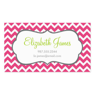 Hot Pink Chevron Business Card