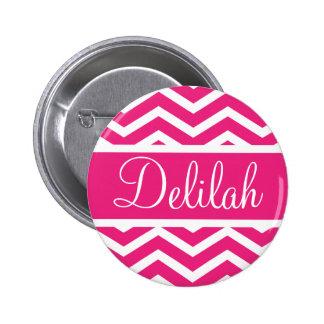 Hot Pink Chevron Custom Name Button