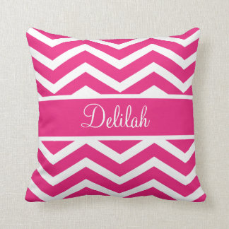 Hot Pink Chevron Custom Name Throw Pillow