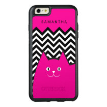 Hot Pink Chevron Kitty Cat Custom Text OtterBox iPhone 6/6s Plus Case