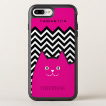 Hot Pink Chevron Kitty Cat Text OtterBox Symmetry iPhone 7 Plus Case