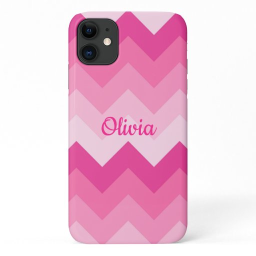 Hot Pink Chevron Ombre Fade Girls iPhone 11 Case
