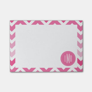 Hot Pink Chevron Ombre ZigZag Monogrammed Post-it® Notes