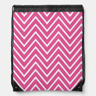 Hot Pink Chevron Pattern 2 Drawstring Backpack