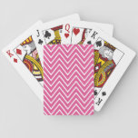 "Hot Pink Chevron Pattern 2 Playing Cards<br><div class=""desc"">Modern,  stylish,  bold,  wide zigzag stripes pattern,  hot pink and white chevron pattern. GraphicsByMimi&#169; Leave as is or add your own text,  monogram,  name or graphics or photo.</div>"
