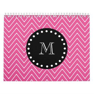Hot Pink Chevron Pattern Black Monogram Wall Calendars