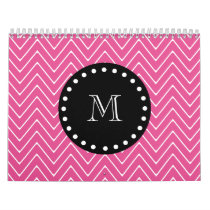 Hot Pink Chevron Pattern | Black Monogram Calendar