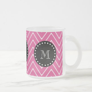 Hot Pink Chevron Pattern   Black Monogram Frosted Glass Coffee Mug