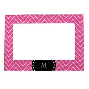 Pink Black Monogram Picture Frames Zazzle
