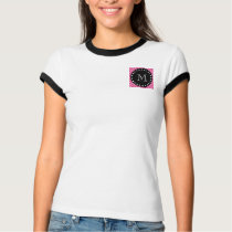 Hot Pink Chevron Pattern | Black Monogram T-Shirt