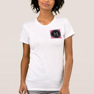Hot Pink Chevron Pattern | Black Monogram Tshirt